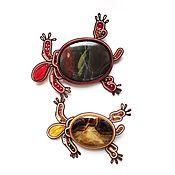 Украшения handmade. Livemaster - original item Brooch beige soutache, decoration with natural stone Turtle. Handmade.