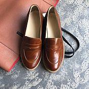 Обувь ручной работы handmade. Livemaster - original item Loafers View brown tinted beige tread sole. Handmade.