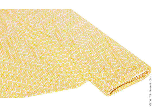 Ткань немецкий хлопок `Ретро круги` (светло-желтая)