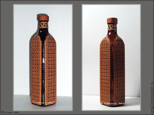 Подарочное оформление бутылок ручной работы. Ярмарка Мастеров - ручная работа. Купить Бутылка в бересте. Handmade. Стекло