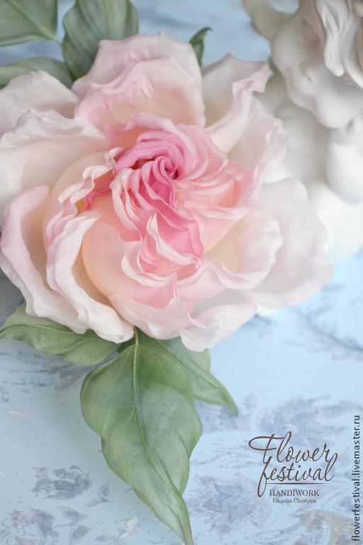 """Цветы ручной работы. Ярмарка Мастеров - ручная работа. Купить Роза из шелка """"Princesse Grace"""". Цветы из ткани. Handmade. Розовый"""