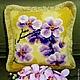 """Подушка ручной работы """"Орхидея"""", 40/40см. Отличный подарок с пожеланиями счастья и достатка в дом, которые символизирует сам цветок орхидеи. Цена указана за наволочку 40/40см."""