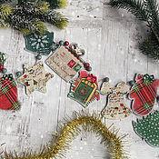 Сувениры и подарки handmade. Livemaster - original item Garland Christmas melodies. Decoupage garland. Handmade.