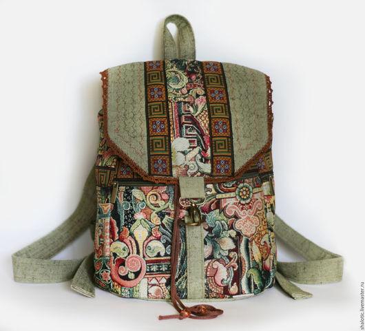 Городской рюкзак, оригинальный рюкзак для прогулок, сумки и рюкзаки ручной работы, автор Юлия Льняная сказка
