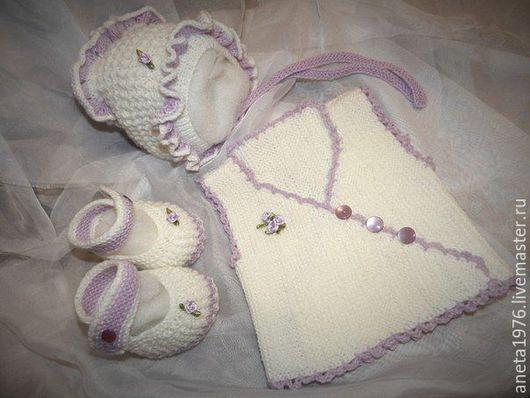 Для новорожденных, ручной работы. Ярмарка Мастеров - ручная работа. Купить комплект для новорожденной девочки. Handmade. Разноцветный, baby wool