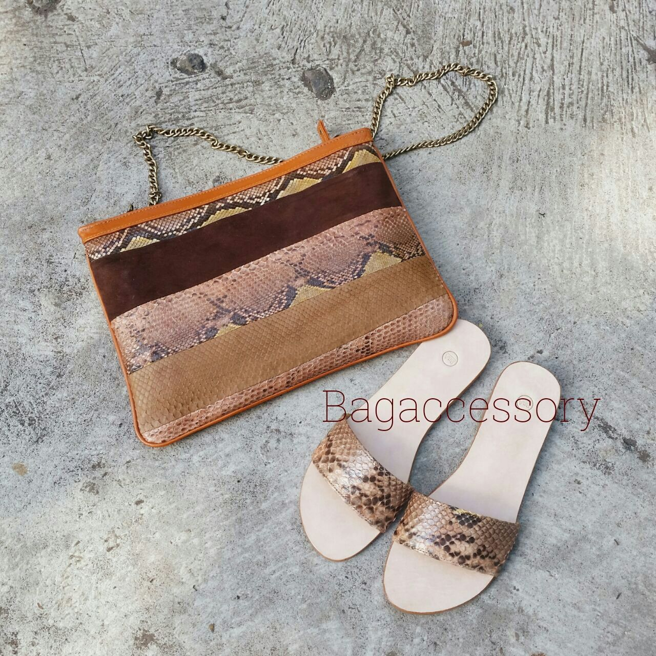 Clutch on a chain made of genuine Python leather, Clutches, Moscow,  Фото №1