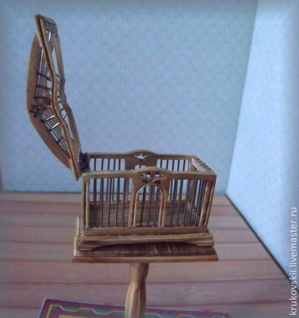 Miniature Furniture. Bird Cage On Stand.