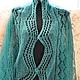 Shawls & Warm Stoles handmade. Order The Maltese shawl, jade. Shawl Masterpiece. Livemaster. Sea wave