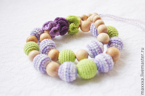 "Teething Necklaces handmade. Livemaster - handmade. Buy Cлингобусы ""Мята и лаванда - 2"".Green, the lavender color, mom-beads"