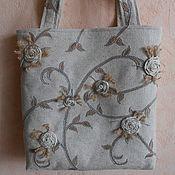"""Классическая сумка ручной работы. Ярмарка Мастеров - ручная работа Льняная сумка. """"Плетистые розы"""". Handmade."""