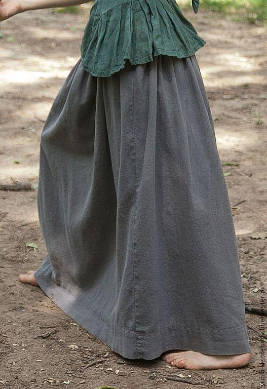 Юбки ручной работы. Ярмарка Мастеров - ручная работа. Купить Юбка Мыш. Handmade. Серый, юбка из льна, практичная юбка