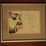 """Подарки к праздникам ручной работы. Ярмарка Мастеров - ручная работа Вышивка метрика """"Спящий малыш"""". Handmade."""
