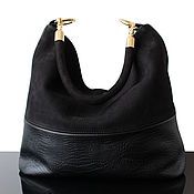Сумки и аксессуары handmade. Livemaster - original item Stylish Hobo bag made of genuine black leather and suede. Handmade.
