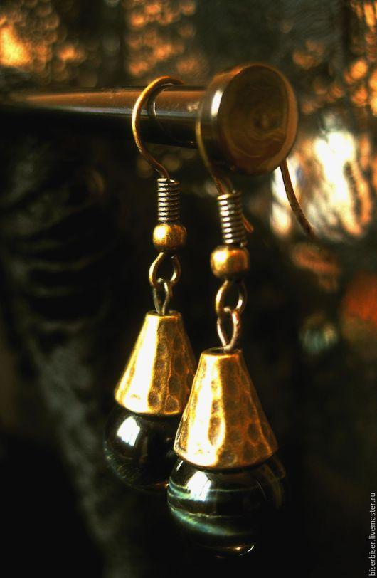 Серьги ручной работы. Ярмарка Мастеров - ручная работа. Купить Серьги  Осень. Handmade. Соколиный глаз, Осенние цвета