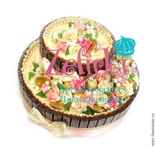 Подарки на свадьбу ручной работы. Ярмарка Мастеров - ручная работа. Купить Подарок на свадьбу  Торт из шоколада с голубками. Handmade. Торт