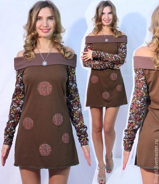 Платья ручной работы. Ярмарка Мастеров - ручная работа. Купить -64% SALE! Платье без бретелек с яркими рукавами. Handmade.