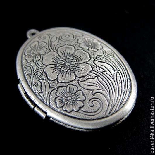 Для украшений ручной работы. Ярмарка Мастеров - ручная работа. Купить Медальон Цветы, античное серебро (1шт). Handmade.