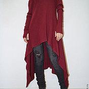 Одежда ручной работы. Ярмарка Мастеров - ручная работа Красный ассиметричный свитер/Топ из трикотажа/F1353. Handmade.