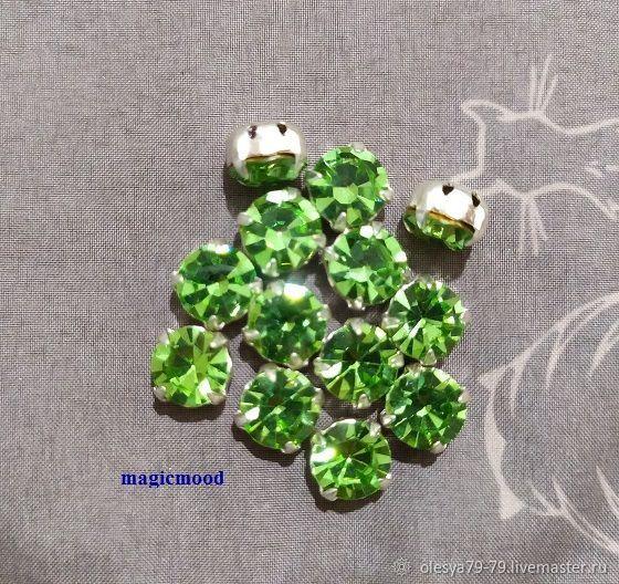 1 piece Rhinestone DACs Czech Peridot ss40 of 8,4-8,7 mm round sew crab, Rhinestones, Chelyabinsk,  Фото №1