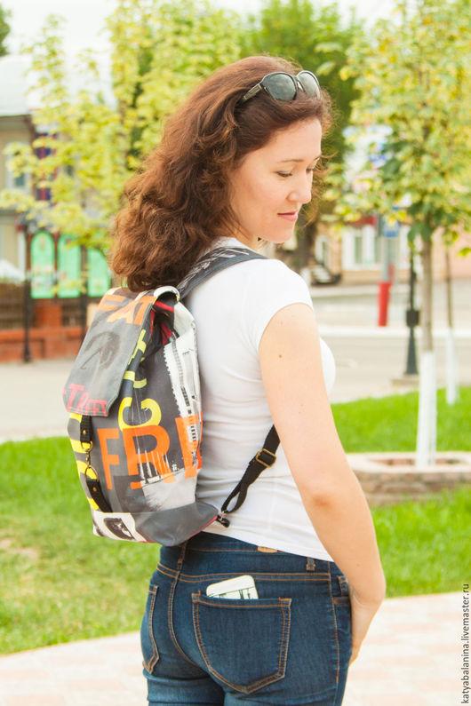 Рюкзаки ручной работы. Ярмарка Мастеров - ручная работа. Купить Городской рюкзак CITY. Handmade. Темно-серый, рюкзачок, красный