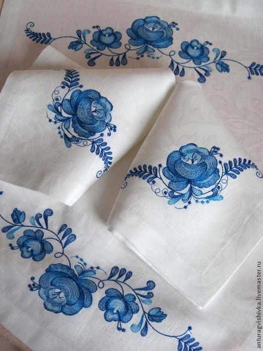Вышитые салфетки ГЖЕЛЬ-3 - прекрасный подарок на любой случай - подарок на Новый год,, подарок на свадьбу, подарок на день рождения
