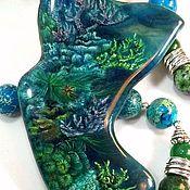 Коралловый риф – крупная подвеска с лаковой росписью для украшений