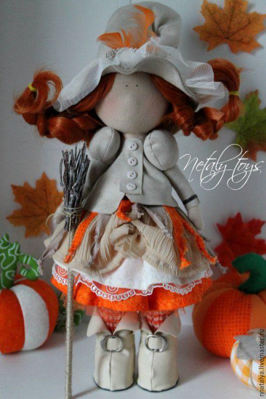 Коллекционные куклы ручной работы. Ярмарка Мастеров - ручная работа. Купить Ведьмочка. Handmade. Оранжевый, ведьмочка, кукла в подарок