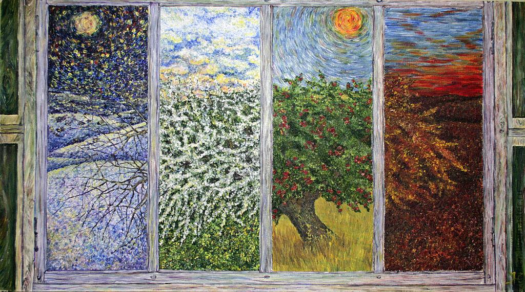 Картина`Сезоны`  Жарская Елена\r\nФантазия на тему Времена года...все меняется...небо...деревья..земля...и наше настроение... Работа участвовала в Международной художественной выставке «Секреты жизни