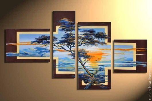 Пейзаж ручной работы. Ярмарка Мастеров - ручная работа. Купить Африканский пейзаж. Handmade. Фиолетовый, картина для интерьера, купить подарок
