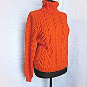 Одежда ручной работы. Ярмарка Мастеров - ручная работа Вязаный женский оранжевый свитер с аранами. Размер 42-44.. Handmade.