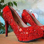Обувь ручной работы. Ярмарка Мастеров - ручная работа Шикарные туфли красного цвета.. Handmade.
