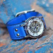 """Украшения ручной работы. Ярмарка Мастеров - ручная работа Часы механические наручные  """"Belts Blue"""". Handmade."""