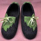 """Обувь ручной работы. Ярмарка Мастеров - ручная работа Валяные женские тапочки """"Зелёный лист"""". Handmade."""