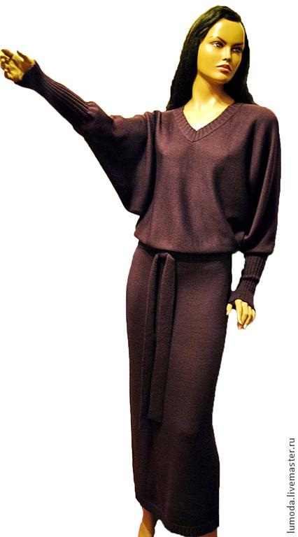 Платья ручной работы. Ярмарка Мастеров - ручная работа. Купить Платье вязаное. Handmade. Бордовый, платье в пол, вязание на заказ