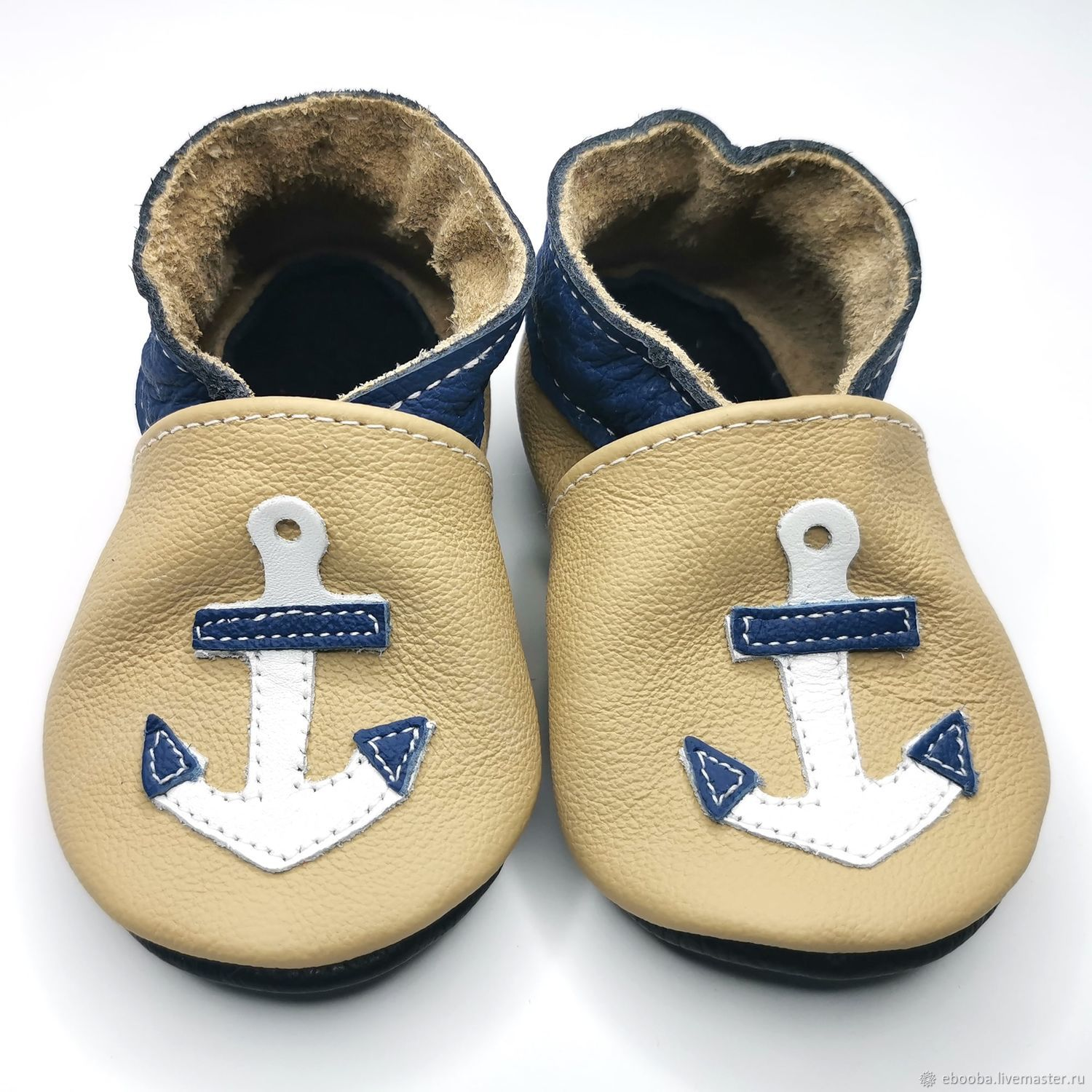 Anchor Baby Shoes,Baby Moccasins,Ebooba,Leather Baby Shoes, Babys bootees, Kharkiv,  Фото №1