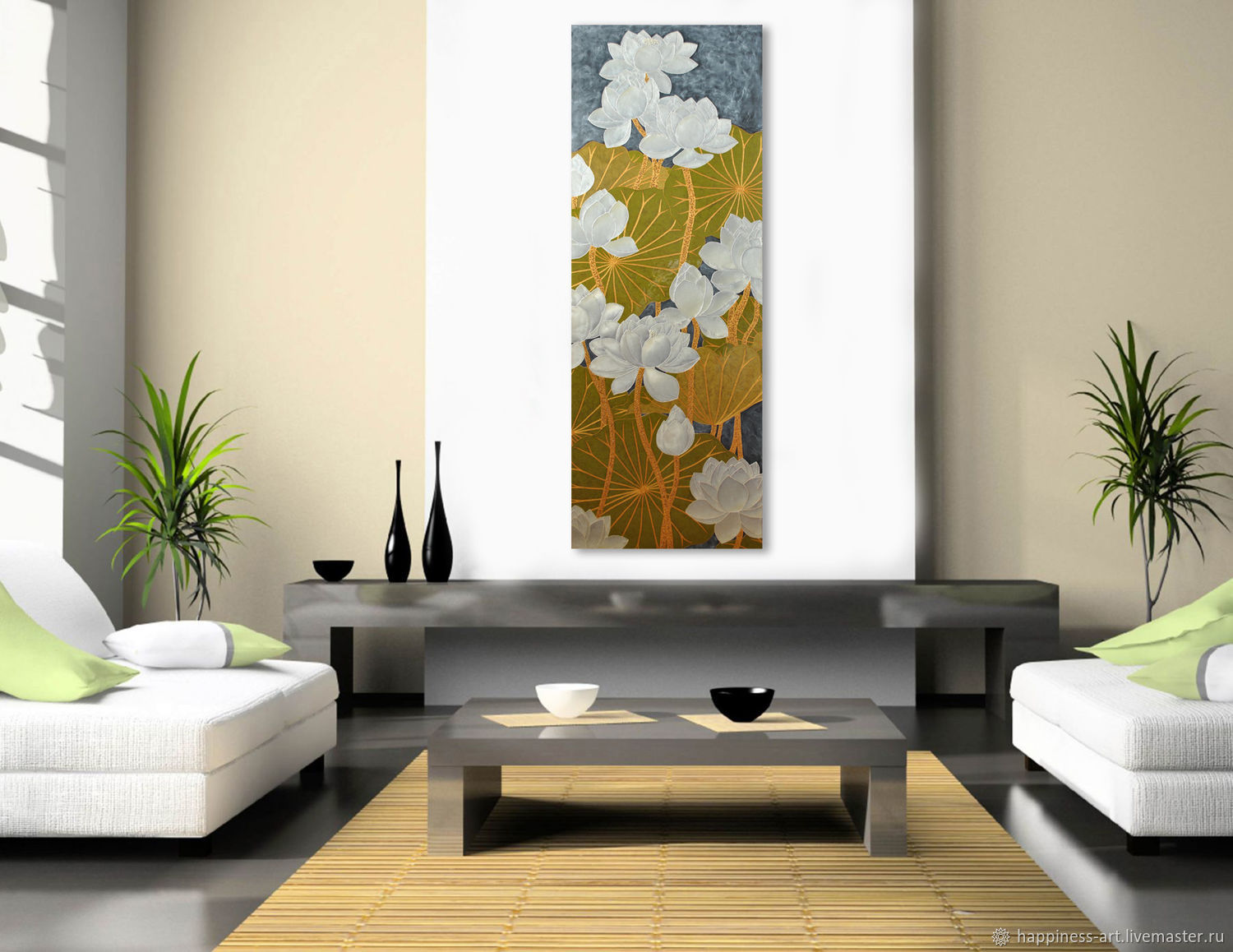 Narrow vertical picture for the interior with white Lotus flowers, Pictures, Moscow,  Фото №1