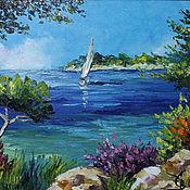 """Картины и панно ручной работы. Ярмарка Мастеров - ручная работа Картина """"Яркий пейзаж с морем в стиле импрессионизм"""". Handmade."""