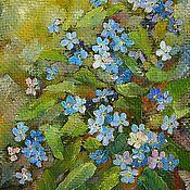 Картины и панно handmade. Livemaster - original item Forget-me-not flowers Picture canvas oil 18на24смс frame. Handmade.