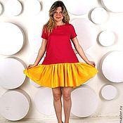 Одежда ручной работы. Ярмарка Мастеров - ручная работа Яркое широкое платье из льна. Handmade.