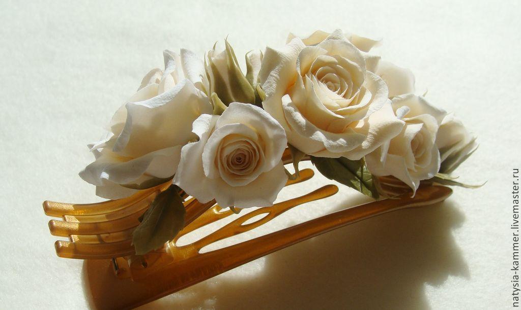 Заколка-зажим(боковой краб) с розами, Заколки, Камышин, Фото №1