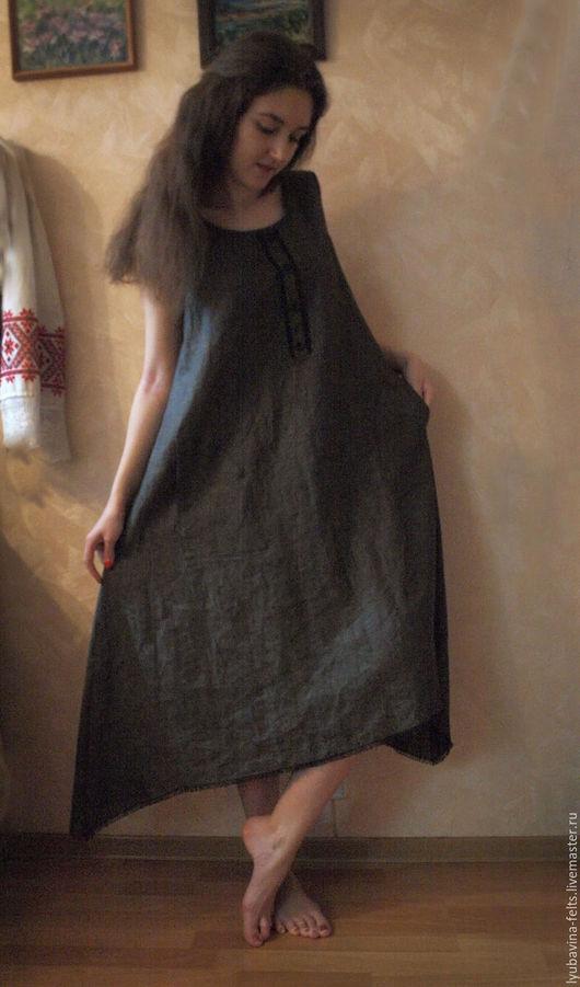 Платья ручной работы. Ярмарка Мастеров - ручная работа. Купить Платье сарафан из льна Арт.04а, бежево-черное расклешенное меланж. Handmade.