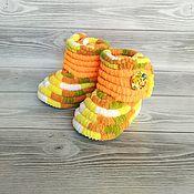 Одежда детская handmade. Livemaster - original item Children`s shoes: plush knitted boots, unisex, 12 cm on the foot. Handmade.