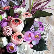 Цветы и флористика ручной работы. Ярмарка Мастеров - ручная работа Корзина со сладкими ранункулюсами. Handmade.
