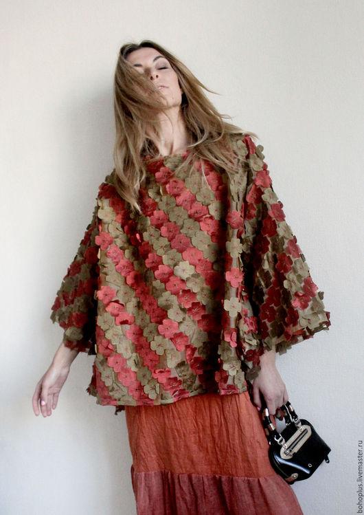 """Блузки ручной работы. Ярмарка Мастеров - ручная работа. Купить Туника -блузон """"Осенний поцелуй"""". Handmade. Рыжий, нарядная блузка"""