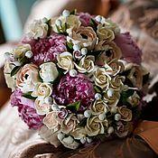 Цветы и флористика handmade. Livemaster - original item Wedding bouquet made of polymer clay with peonies. Handmade.