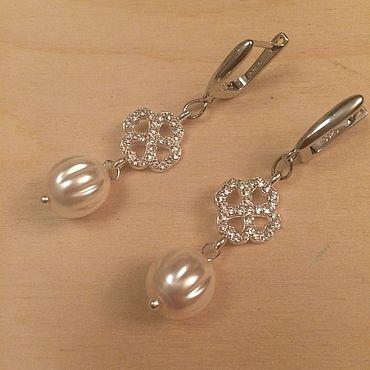 Decorations handmade. Livemaster - original item earrings: White clover Shamrock. Handmade.