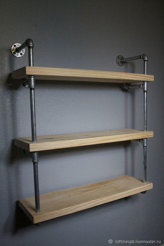 Полка в стиле лофт из водопроводных труб и массива дерева