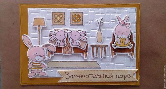"""Открытки к другим праздникам ручной работы. Ярмарка Мастеров - ручная работа. Купить Открытка """"Счастье, оно не в Париже, счастье намного ближе!"""". Handmade."""