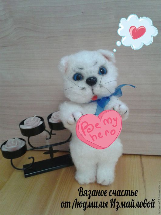 Игрушки животные, ручной работы. Ярмарка Мастеров - ручная работа. Купить Белый котёнок. Котёнок вязаный.. Handmade. Белый
