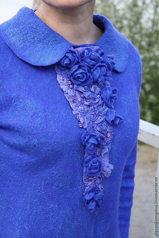 Пиджаки, жакеты ручной работы. Ярмарка Мастеров - ручная работа. Купить Жакет валяный Самые синие розы. Handmade. Синий